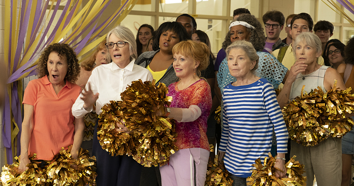 "Rhea Perlman, Patricia French, Diane Keaton, Pam Grier, Jackie Weaver, Carol Sutton, Phyllis Somerville and Ginny MacColl in STX Film's ""Poms."""