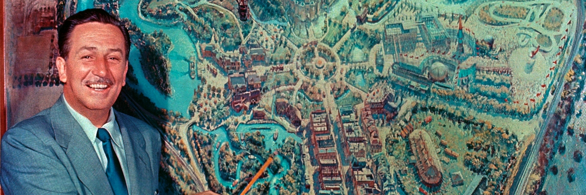 Walt Disney and the map of Disneyland