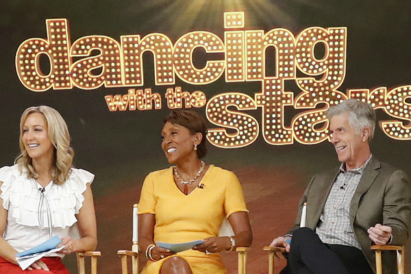 Lara Spencer, Robin Roberts and Tom Bergeron on Good Morning America.