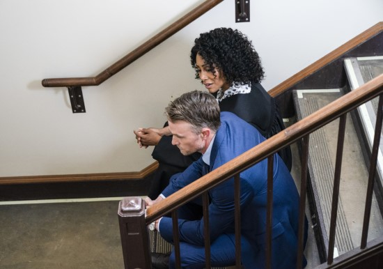 "Lola Carmichael (Simone Missick) and Mark Callan (Wilson Bethel) in ""All Rise."""