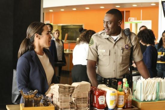 "Emily Lopez (Jessica Camacho) and Luke Watkins (J. Alex Brinson) in ""All Rise."""