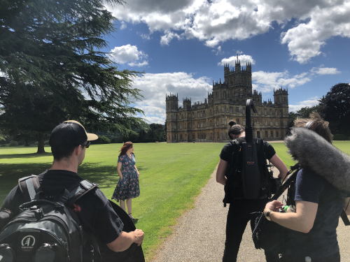 "Outside Highclere Castle featured in ""Downton Abbey."""