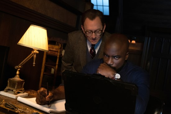 "Michael Emerson as Leland Townsend and Mike Colter as David Acosta in CBS' ""Evil."""
