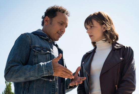 """Aasif Mandvi as Ben Shakir and Katja Herbers as Kristen Bouchard in CBS' """"Evil."""""""