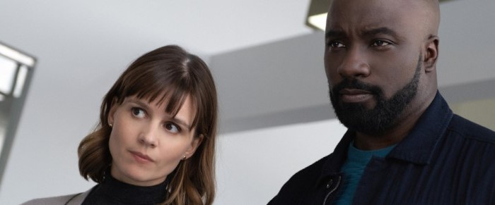 "Katja Herbers and Mike Colter in CBS' ""Evil."""