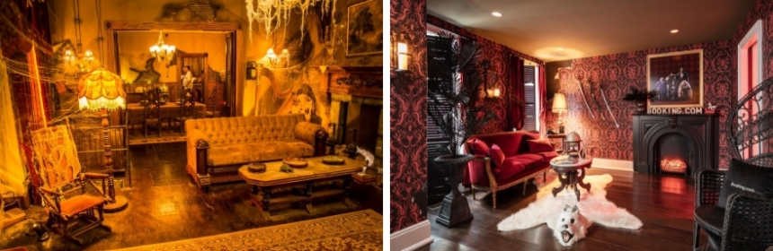 The living rooms of The Munsters and The Addams Family