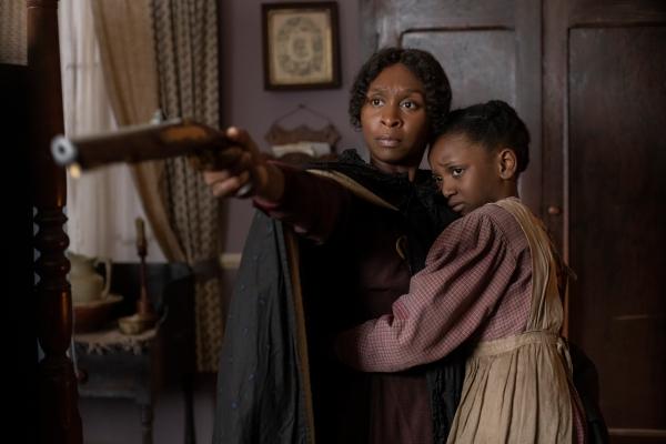 Cynthia Erivo (Harriet Tubman) and Aria Brooks (Anger).